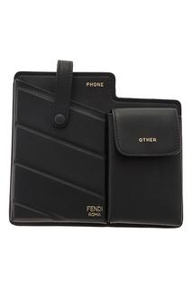 Черная мини-сумка с двумя карманами Fendi