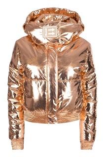 Золотистая стеганая куртка с логотипом Off White