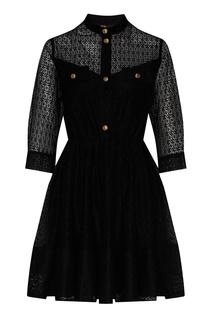 Черное кружевное платье Maje