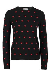 Черный джемпер с контрастными узорами Red Valentino