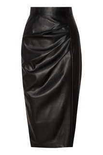 Черная кожаная юбка с драпировками Akhmadullina Dreams