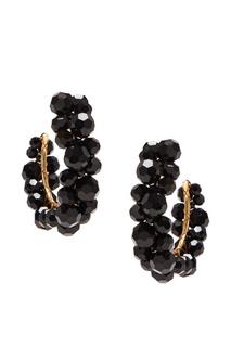 Серьги-кольца с черными бусинами Simone Rocha