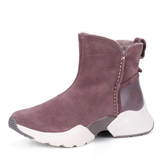 Ботинки Темно-розовые ботинки из велюра на утолщенной подошве Tamaris