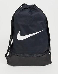 Черный рюкзак с затягивающимися шнурками и логотипом-галочкой Nike 010
