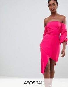 Платье миди с открытыми плечами и запахом на юбке ASOS TALL-Розовый
