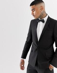 Черный пиджак-смокинг с атласными лацканами ASOS DESIGN