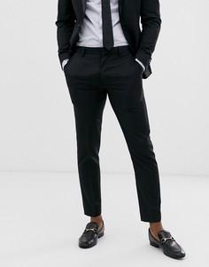 Черные шерстяные брюки скинни под смокинг ASOS DESIGN-Черный