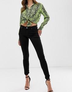 Черные укороченные джинсы скинни с классической талией ASOS DESIGN Lisbon-Черный