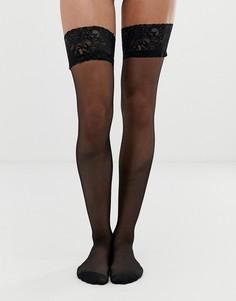 Блестящие чулки с кружевными манжетами Ann Summers-Черный