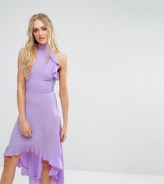 Платье миди с запахом и оборками John Zack Tall-Фиолетовый