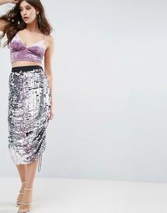 Декорированная юбка-карандаш с эффектом омбре ASOS DESIGN-Мульти