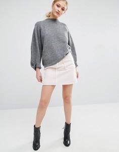 Мини-юбка с отделкой искусственной овечьей шерстью J.O.A-Кремовый