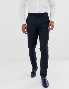 Темно-синие шерстяные брюки скинни под смокинг ASOS DESIGN-Темно-синий