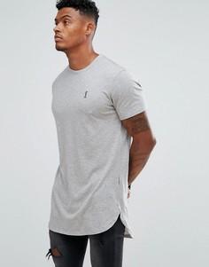 Серая меланжевая удлиненная футболка с логотипом Religion-Серый