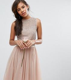 Платье миди без рукавов с пайетками и бантом сзади Maya Tall-Розовый
