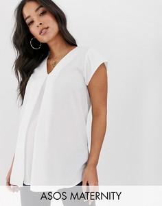 Блузка в стиле оригами с V-образным вырезом ASOS DESIGN Maternity-Белый