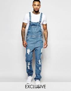 Выбеленный джинсовый комбинезон прямого кроя с рваной отделкой Liquor N Poker-Синий