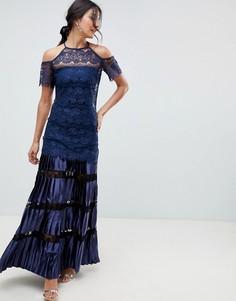 Кружевное платье макси с открытыми плечами Bodyfrock-Темно-синий