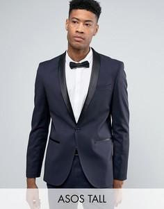 Темно-синий облегающий пиджак-смокинг ASOS DESIGN Tall