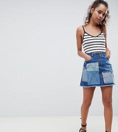 Джинсовая мини-юбка с кружевной и рваной отделкой с заплатками Urban Bliss Petite-Мульти