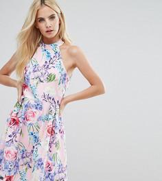 Платье для выпускного с цветочным принтом и высокой горловиной Paper Dolls Petite-Мульти
