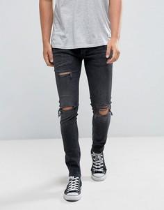 Черные джинсы скинни с рваной отделкой River Island-Черный