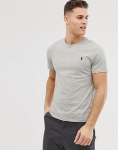 Серая однотонная футболка с круглым вырезом Polo Ralph Lauren-Серый