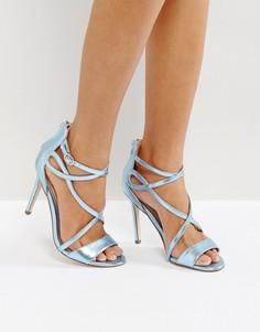 Босоножки на каблуке цвета металлик Miss KG-Синий