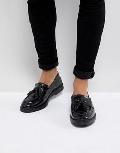 Черные кожаные лоферы с кисточками ASOS DESIGN-Черный
