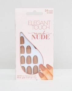 Светло-бежевые накладные ногти овальной формы с матовым эффектом Elegant Touch-Бежевый