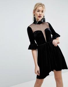 Короткое приталенное бархатное платье с глубоким вырезом и вставками из сетки добби ASOS-Черный