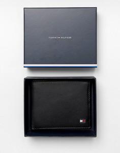 Черный кожаный бумажник двойного сложения Tommy Hilfiger Eton
