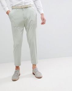 Суженные книзу брюки в строгом стиле из серовато-зеленого бархата ASOS DESIGN-Зеленый