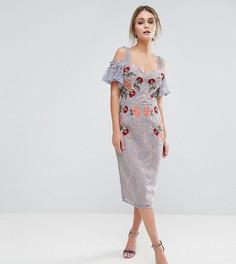 Кружевное платье миди с вышивкой и открытыми плечами Hope & Ivy-Синий