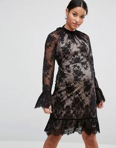 Кружевное платье мини с высоким воротом и открытой спиной ASOS Maternity TALL-Черный