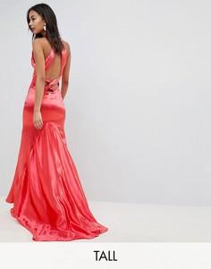 Платье макси с американской проймой, юбкой-годе и открытой спиной Jarlo Tall-Красный