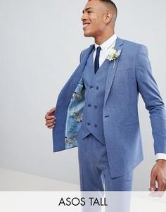 Синий пиджак скинни с принтом на подкладке ASOS DESIGN Tall Wedding
