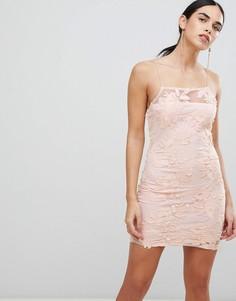 Облегающее платье с вышивкой и цветочной отделкой Ax Paris-Розовый