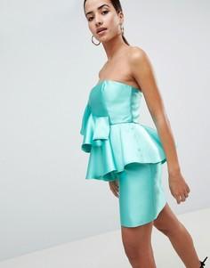 Коктейльное платье мини с оборкой ASOS DESIGN-Мульти