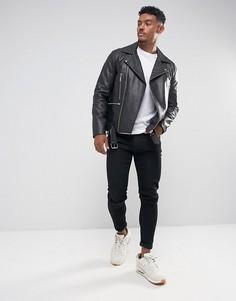 Черная кожаная байкерская куртка с поясом ASOS DESIGN-Черный