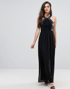 Платье макси с перекрестами, отделкой из искусственной кожи и люверсами BCBG-Черный