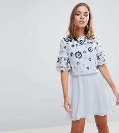 Короткое приталенное платье с декорированной накладкой Frock And Frill Petite Premium-Синий