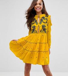 Свободное бархатное платье с цветочной вышивкой Frock And Frill Petite-Желтый