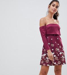 Платье мини с цветочным принтом ASOS PETITE-Мульти