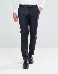 Темно-синие брюки скинни из 100% шерсти ASOS DESIGN-Темно-синий