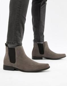 Серые ботинки челси из искусственной замши ASOS DESIGN-Серый