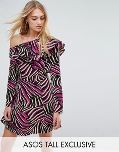 Короткое приталенное платье с анималистичнымпринтом и оборками ASOS TALL-Черный