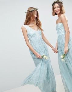 Платье макси с прозрачной кружевной вставкой ASOS DESIGN-Зеленый