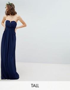 Платье-бандо макси TFNC Tall-Темно-синий