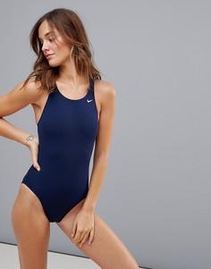 Темно-синий слитый купальник Nike